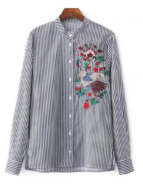 women Striped Stand Collar Peacock Embroidered Shirt - STRIPE L Mobile