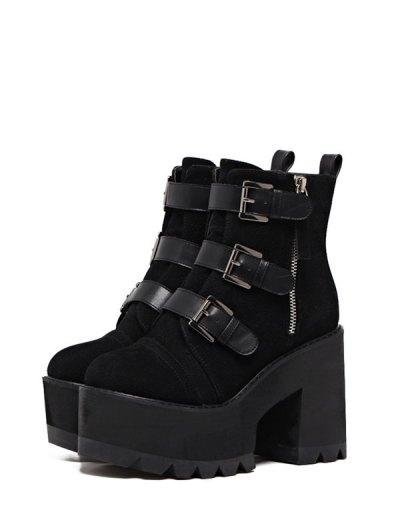 Platform Triple Buckles Chunky Heel Boots - BLACK 37 Mobile