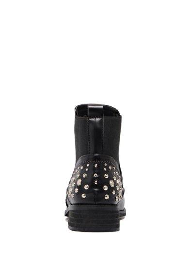 Engraving Rivet PU Leather Short Boots - BLACK 39 Mobile