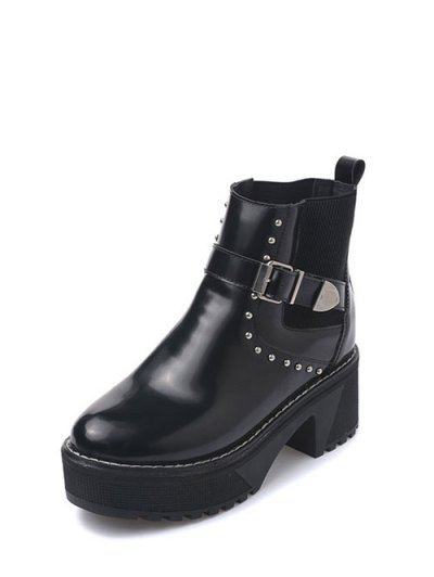 Rivet Buckle Strap Platform Boots - BLACK 39 Mobile
