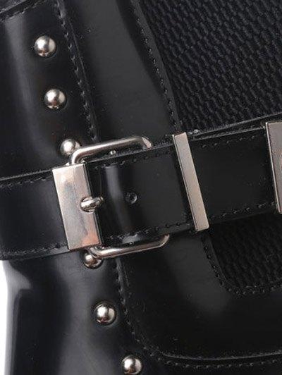 Rivet Buckle Strap Platform Boots - BLACK 37 Mobile