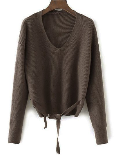 Loose String Sweater - COFFEE ONE SIZE Mobile