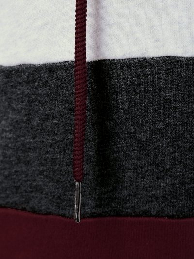 Color Block Drawstring Plus Size Hoodie - COLORMIX 2XL Mobile