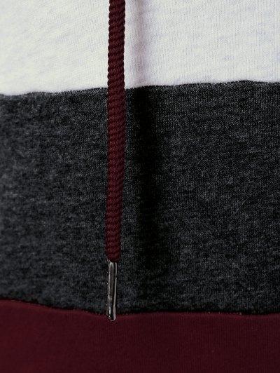 Color Block Drawstring Plus Size Hoodie - COLORMIX 3XL Mobile