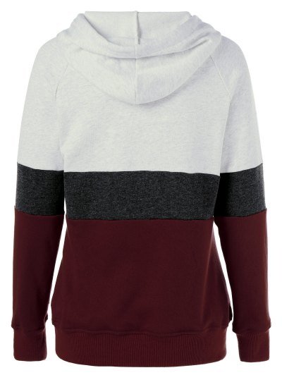 Color Block Drawstring Plus Size Hoodie - COLORMIX 5XL Mobile