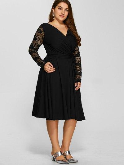 Lace Sleeve Surplice Plus Size Dress от Zaful.com INT
