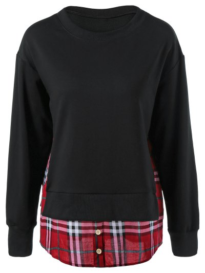 Plaid Patchwork Side Slit Sweatshirt - BLACK L Mobile