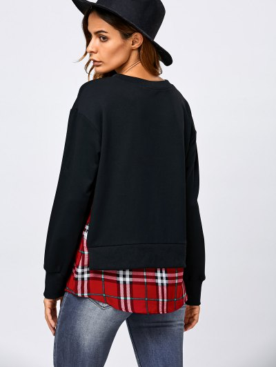 Plaid Patchwork Side Slit Sweatshirt - BLACK XL Mobile