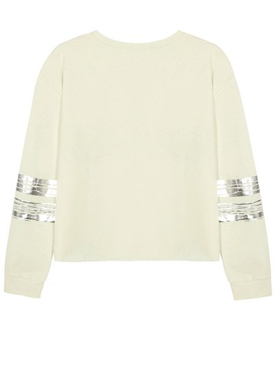 Metallic Stripe Crew Neck Sweatshirt - BEIGE XL Mobile