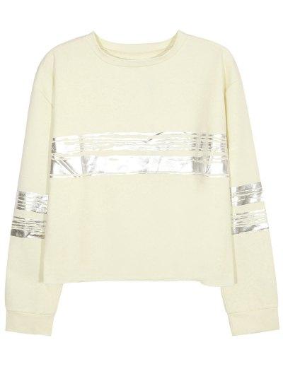 Metallic Stripe Crew Neck Sweatshirt - BEIGE S Mobile