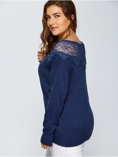 Lace Insert Pullover Plus Size Sweater - DEEP BLUE 5XL Mobile