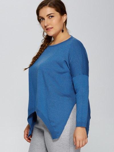 Plus Size Pullover Handkerchief Sweater - LAKE BLUE 3XL Mobile