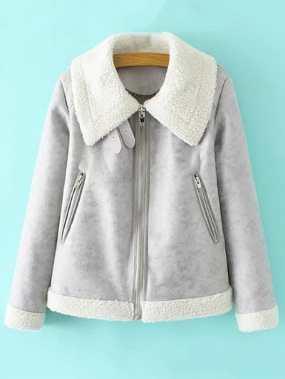 Faux Leather Faux Shearling Jacket - GRAY L Mobile