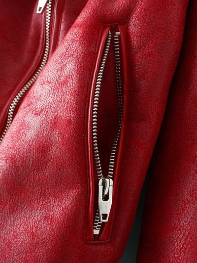 Faux Leather Faux Shearling Jacket - RED L Mobile