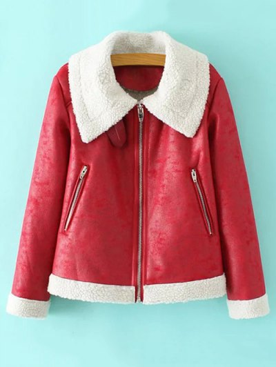 Faux Leather Faux Shearling Jacket - RED S Mobile