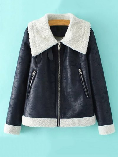 Faux Leather Faux Shearling Jacket - CADETBLUE M Mobile