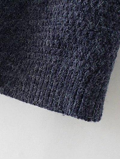 Hooded Faux Twinset Cardigan - PURPLISH BLUE L Mobile