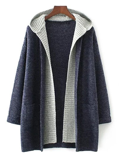 Hooded Faux Twinset Cardigan - PURPLISH BLUE M Mobile