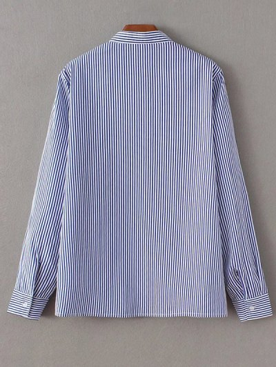 Striped Peacock Embroidered Shirt - STRIPE L Mobile