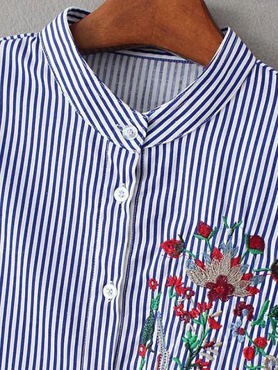Striped Peacock Embroidered Shirt - STRIPE M Mobile