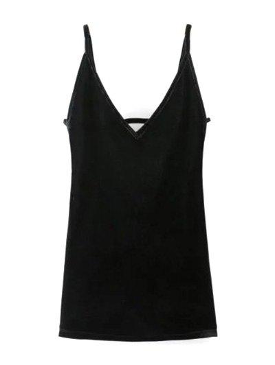 Plunging Neck Pleuche Cami Dress - BLACK M Mobile