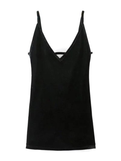 Plunging Neck Pleuche Cami Dress - BLACK S Mobile