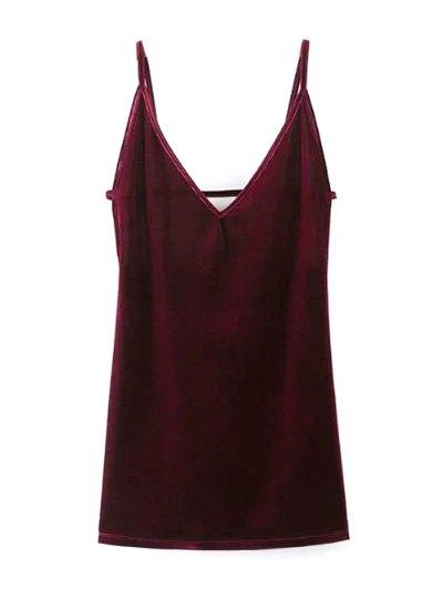 Plunging Neck Pleuche Cami Dress - BURGUNDY M Mobile