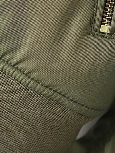 Eagle Embroidered Quilted Bomber Jacket - ARMY GREEN M Mobile