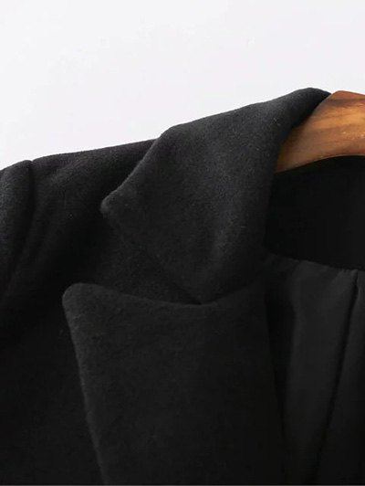 Back Slit Lapel Collar Peacoat - BLACK M Mobile
