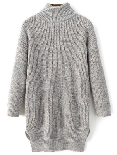 Side Slit Turtleneck Heather Sweater - GRAY ONE SIZE Mobile