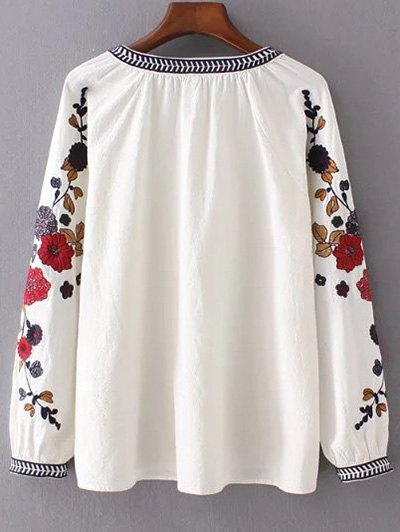 Embroidered Sleeve Blouse - OFF-WHITE L Mobile