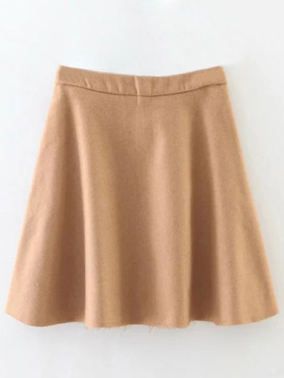 Wool Blend Flounce Mini Skirt - KHAKI L Mobile