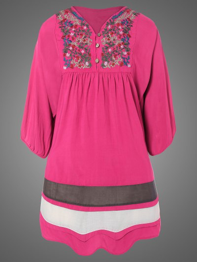 Plus Size Embroidered Bib Tunic Dress - ROSE RED ONE SIZE Mobile