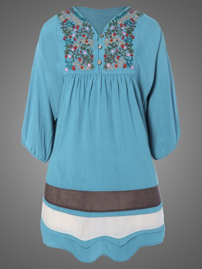 Plus Size Embroidered Bib Tunic Dress - LIGHT BLUE ONE SIZE Mobile