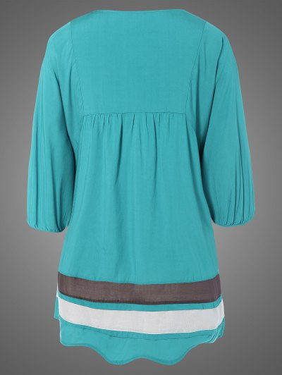 Plus Size Embroidered Bib Tunic Dress - LAKE BLUE ONE SIZE Mobile