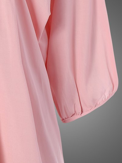Plus Size Embroidered Bib Tunic Dress - PINK ONE SIZE Mobile