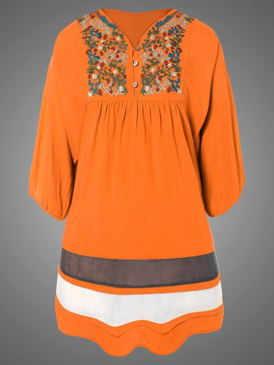 Plus Size Embroidered Bib Tunic Dress - ORANGE ONE SIZE Mobile
