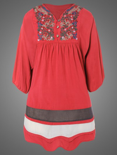 Plus Size Embroidered Bib Tunic Dress - WATERMELON RED ONE SIZE Mobile