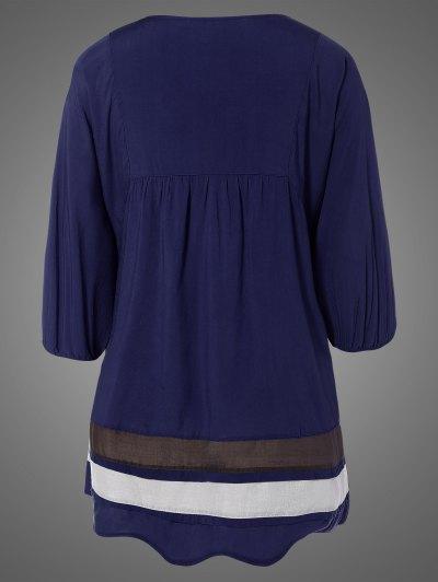 Plus Size Embroidered Bib Tunic Dress - PURPLISH BLUE ONE SIZE Mobile