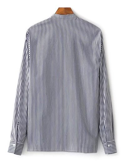 Striped Stand Collar Peacock Embroidered Shirt - STRIPE M Mobile