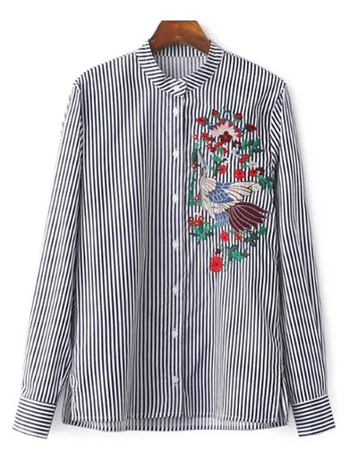 Striped Stand Collar Peacock Embroidered Shirt - STRIPE S Mobile