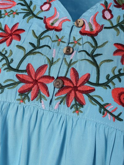 Embroidered Floral Bib Tunic Dress - LIGHT BLUE ONE SIZE Mobile