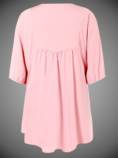 Embroidered Floral Bib Tunic Dress - PINK ONE SIZE Mobile