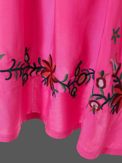 Embroidered Floral Bib Tunic Dress - ROSE RED ONE SIZE Mobile