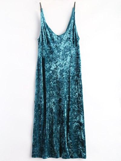 Shimmer Velvet Cami Dress - Peacock Blue