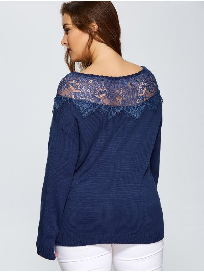 Lace Insert Pullover Plus Size Sweater - DEEP BLUE 3XL Mobile