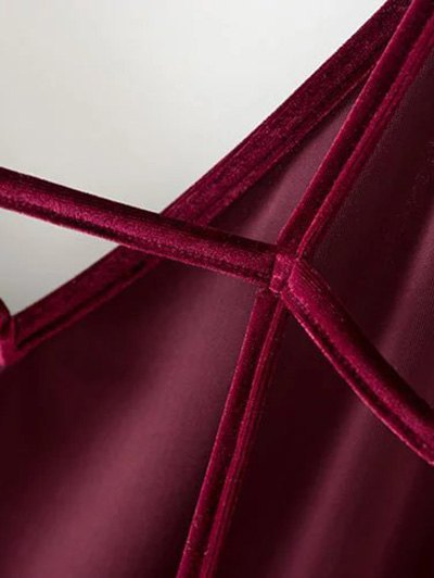 Plunging Neck Pleuche Cami Dress - BURGUNDY L Mobile