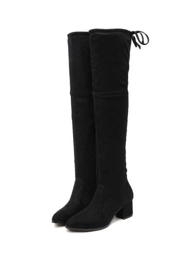 Pointed Toe Chunky Heel Thigh Boots - BLACK 39 Mobile