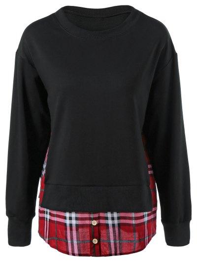 Plaid Patchwork Side Slit Sweatshirt - BLACK M Mobile