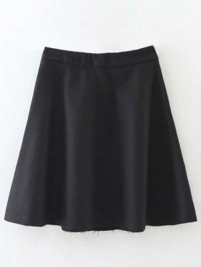 Wool Blend Flounce Mini Skirt - BLACK L Mobile